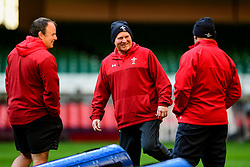 Neil Jenkins talks with Robin McBride takes part in the training session - Photo mandatory by-line: Ryan Hiscott/JMP - 29/10/2018 - RUGBY - Principality Stadium - Cardiff, Wales - Autumn Series - Wales Rugby Open Training Session
