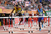 Damion Thomas (JAM) wins the Gold Medal in 110 Metres Hurdles Men during the IAAF World U20 Championships 2018 at Tampere in Finland, Day 3, on July 12, 2018 - Photo Julien Crosnier / KMSP / ProSportsImages / DPPI