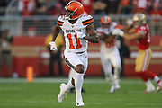 Cleveland Browns wide receiver Antonio Callaway (11) runs a route during an NFL football game against the San Francisco 49ers, Monday, Oct. 7, 2019, in Santa Clara, Calif. The 49ers defeated the Browns (Peter Klein/Image of Sport)
