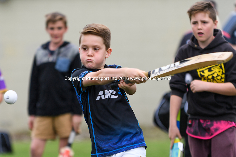 A young fan bats during a Blackcaps Barbecue at Hagley Oval in Christchurch, New Zealand. 14 November 2016. Photo: Kai Schwoerer / www.photosport.nz