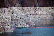Marks along the canyon walls of Lake Mead at the Hoover Dam show the low water level as the western states suffer from continous water shortages and drought.