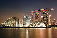 Night Scenery of Flower Dome at Garden by the Bay and Marina Bay Sand