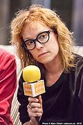 Martine Delvaux, essayiste et romancière. Portrait en direct lors de l'émission radiophonique Francophonie Express  à  Le Mount Stephen / Montreal / Canada / 2019-04-08, Photo © Marc Gibert / adecom.ca