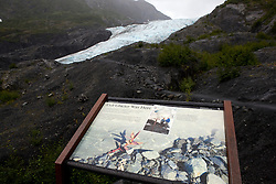 National Park Service sign showing location of Exit Glacier in 1998 with glacier in background, Kenai Fjords National Park, Alaska, United States of America