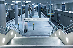 Interior of underground station at Bundestag in Berlin, Germany