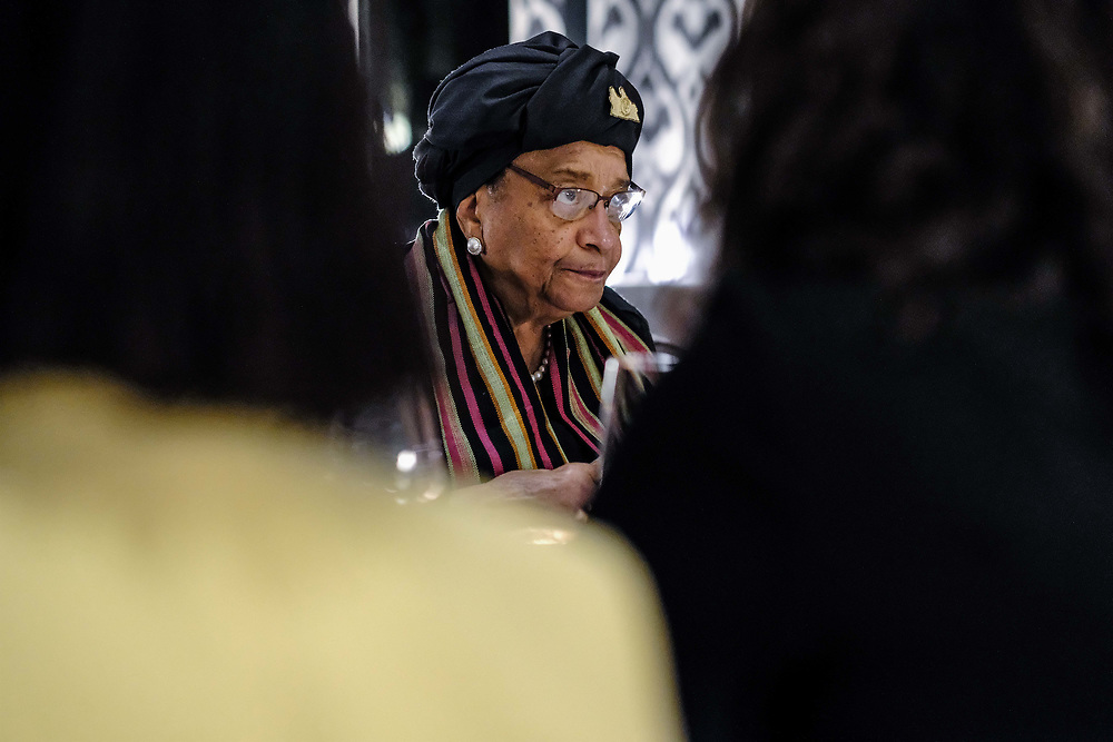 The Royal African Society 2018 Annual Lecture by Ellen Johnson Sirleaf, Former President of Liberia and Nobel Laureate at The Lydia and Manfred Gorvy Lecture Theatre, Victoria and Albert Museum. Tuesday 9 October 2018. (Photos/Ivan Gonzalez)