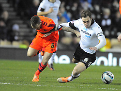 BOLTONS JAY SPEARING, BRINGS DOWN DERBYS RICHARD KEOGH, Derby County v Bolton Wanderers Sky Bet Championship, Pride Park, Tuesday 11th March 2014