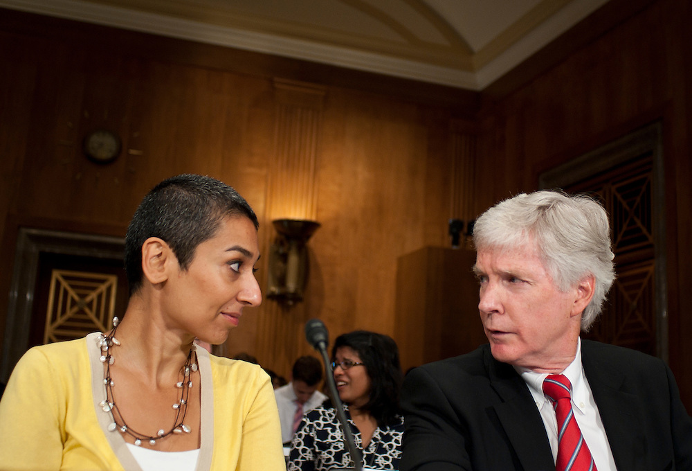 "Jul 27, 2010 - Washington, District of Columbia, U.S., -.ZAINAB SALBI, founder and CEO of Women for Women International  and RYAN CROCKER, dean and executive professor at Texas A&M University's George Bush School of Government and Public Service, talk before a Senate Foreign Relations Committee hearing on the ""Perspectives on Reconciliation Options in Afghanistan.""(Credit Image: © Pete Marovich/ZUMA Press)"