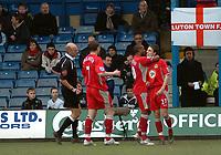 Photo: Kevin Poolman.<br />Luton Town v Blackburn Rovers. The FA Cup. 27/01/2007. Blackburn's Matt Derbyshire (right) celebrates his goal with Benedict McCarthy and Brett Emerton (no 7).