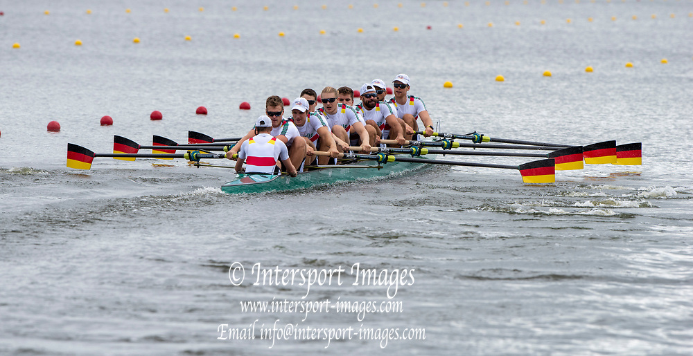 "Glasgow, Scotland, ""2nd August 2018"", Germany's Men's Eight, move awy from the start in their heat, at the European Games, Rowing, Strathclyde Park, North Lanarkshire, © Peter SPURRIER/Alamy Live News. Crew, GER M8+, Bow, Johannes WEISSENFELD, Felix WIMBERGER, Maximilian PLANER, Torben JOHANNESEN, Jakob SCHNEIDER, Malte JAKSCHIK, Richard SCHMIDT, Hannes OCIK and cox Martin SAUER,"
