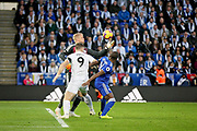 Leicester City Goalkeeper Kasper Schmeichel (1) juggles this cross during the Premier League match between Leicester City and Burnley at the King Power Stadium, Leicester, England on 10 November 2018.