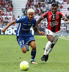 Allan Saint Maximin (R) Nice in duel with Kenny Lala Strasbourg during the match of League 1 at the Allianz Riviera Stadium in Nice in France on October 22nd, 2017. Nice defeated against Strasbourg 1-2  (Credit Image: © Serge Haouzi/Xinhua via ZUMA Wire)