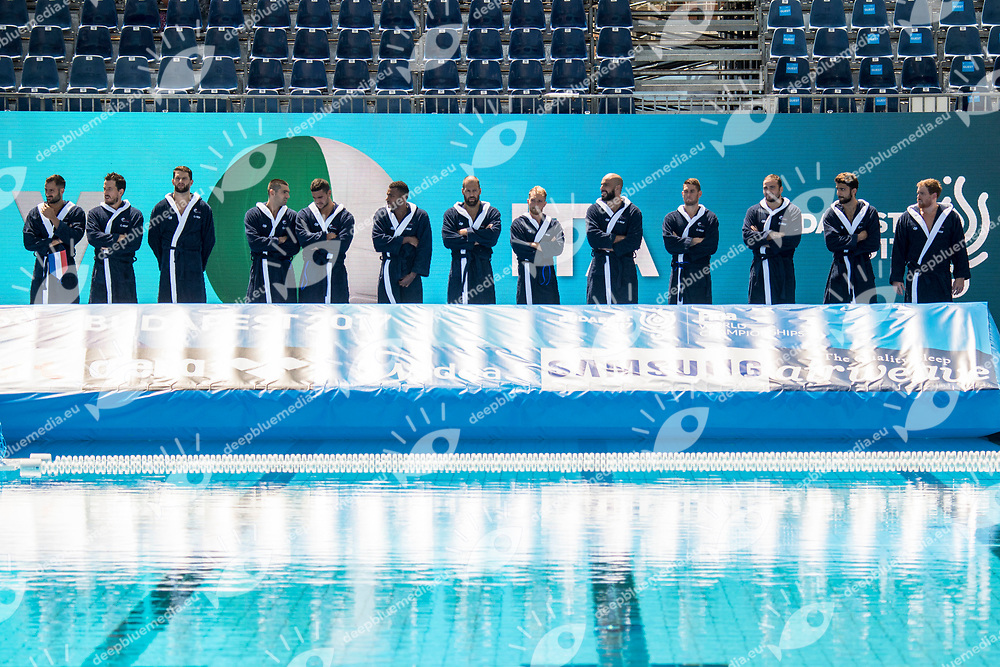 Team France FRA <br /> FRA (white cap) -  ITA (blue cap)<br /> Preliminary Round Water Polo Men<br /> Day04  17/07/2017 <br /> XVII FINA World Championships Aquatics<br /> Alfred Hajos Complex Margaret Island  <br /> Budapest Hungary <br /> Photo @ Deepbluemedia/Insidefoto