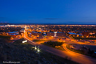Looking down upon Main Street at dusk in Billings, Montana, USA