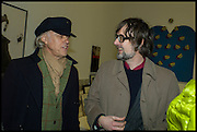 BOB GELDOF AND JARVIS COCKER at the Private view for A Strong Sweet Smell of Incense<br /> A Portrait of Robert Fraser, Curated by Brian Clarke. Pace Gallery. 6 Burlington Gardens. London. 5 February 2015.