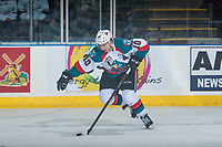 KELOWNA, CANADA - MARCH 25: Nick Merkley #10 of the Kelowna Rockets skates with the puck against the Kamloops Blazers on March 25, 2017 at Prospera Place in Kelowna, British Columbia, Canada.  (Photo by Marissa Baecker/Shoot the Breeze)  *** Local Caption ***