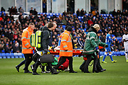 The stretcher is called for after a serious injury to Coventry City midfielder Luke Thomas (23) during the EFL Sky Bet League 1 match between Peterborough United and Coventry City at London Road, Peterborough, England on 16 March 2019.