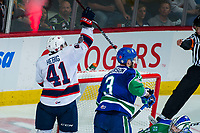 REGINA, SK - MAY 23: Cameron Hebig #41 of the Regina Pats celebrates a goal against the Swift Current Broncos at the Brandt Centre on May 23, 2018 in Regina, Canada. (Photo by Marissa Baecker/CHL Images)