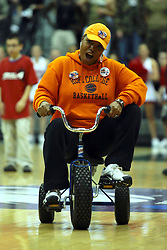 20 March 2010: A Hope fan plays the Tricycle race game during a brief intermission. The Flying Dutch of Hope College fall to the Bears of Washington University 65-59 in the Championship Game of the Division 3 Women's NCAA Basketball Championship the at the Shirk Center at Illinois Wesleyan in Bloomington Illinois.