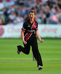 Max Waller of Somerset celebrates after taking the wicket of Hamish Marshall of Gloucestershire - Photo mandatory by-line: Dan Mullan/JMP - 07966 386802 - 16/05/2014 - SPORT - CRICKET - County Cricket Ground - Gloucester Cricket v Somerset Cricket - T20