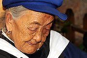 China Yunnan province Lijiang Portrait of an old Naxi woman