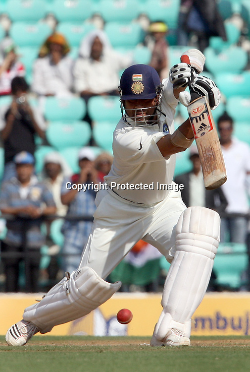 Indian batsman Sachin Tendulkar plays a shot against New Zealand during The India vs New Zealand 3rd test match day-2 Played at Vidarbha Cricket Association Stadium, Jamtha, Nagpur, 21, November 2010 (5-day match)