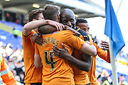 Wolverhampton Wanderers David Edwards is congratulated by tea mates after scoring his teams opening goal during the Sky Bet Championship match between Birmingham City and Wolverhampton Wanderers at St Andrews, Birmingham, England on 31 October 2015. Photo by Shane Healey.