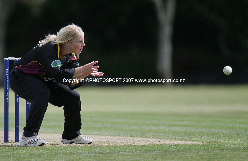 Northern's Charlie Russel fields the ball. State Auckland Hearts v State Northern Spirit. State League Twenty20. Melville Park, Auckland, New Zealand. Friday 28 December 2007. Photo: Hagen Hopkins/PHOTOSPORT