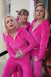 """© Licensed to London News Pictures. 20/02/202. London, England. L-R: Margi Clarke, Julie Coombe and Laura Checkley. """"Hormonal Housewives"""" a comedy starring Margi Clarke, Laura Checkley and Julie Coombe embarks on a UK tour from 22 February to 13 May 2012, starting at the New Wimbledon Theatre. Photo credit: Bettina Strenske/LNP"""