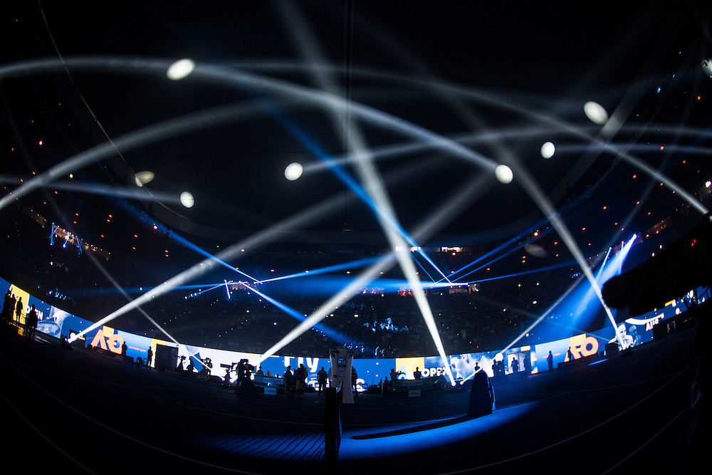 Pre match light show and ceremony ahead of the men's final on day fourteen of the 2017 Australian Open at Melbourne Park on January 29, 2017 in Melbourne, Australia.<br /> (Ben Solomon/Tennis Australia)
