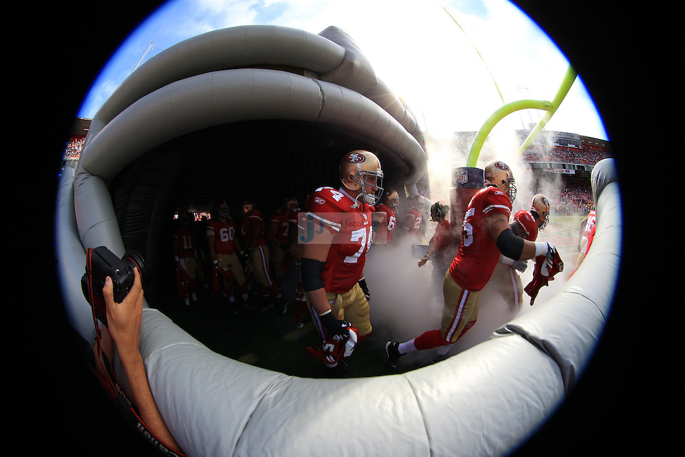 San Francisco, CA - August 20 :   Members of the San Francisco 49ers enter the field against the Oakland Raiders on August 2011, 2011 in San Francisco, California.  (Photo by Jed Jacobsohn)