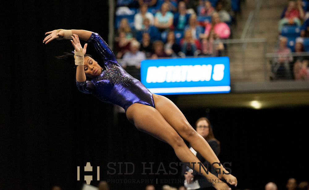 21 APRIL 2018 -- ST. LOUIS -- LSU gymnast Kennedi Edney competes in the Floor Exercise during the 2018 NCAA Women's Gymnastics Championship Super Six at Chaifetz Arena in St. Louis Saturday, April 21, 2018. The Tigers finished fourth in the nation during the meet.<br /> Photo &copy; copyright 2018 Sid Hastings.
