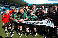 Photo: Tony Oudot/Richard Lane Photography. <br /> Gilingham Town v Swansea City. Coca-Cola League One. 12/04/2008. <br /> Swansea celebrate their promotion to the Championship