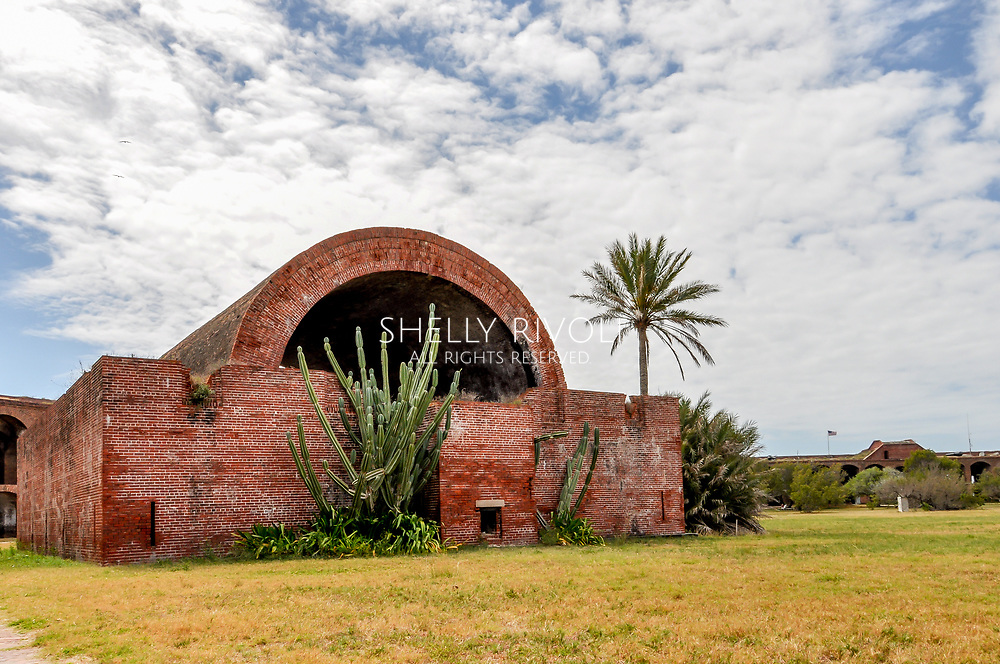 """The Big Magazine"" at Fort Jefferson. Shown here, the exterior of a powder magazine where gun powder was stored at the historic fort at Dry Tortugas National Park, Florida."