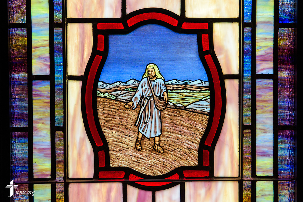 Stained glass depicting the The Parable of the Sower (Matthew 13:3) at St. John's Lutheran Church, Conover, N.C, on Friday, April 21, 2017. LCMS Communications/Erik M. Lunsford