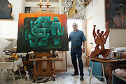 Painter and sculptor Artemio Guerra at his studio in Reynosa, Mexico.