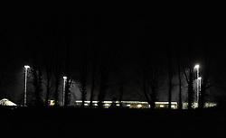 The floodlights light up the wood spring Stadium. - Photo mandatory by-line: Alex James/JMP - Mobile: 07966 386802 - 18/11/2014 - SPORT - Football - Weston-super-Mare - Woodspring Stadium - Weston-super-Mare v Doncaster - FA Cup - Round One