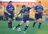 Ian Madigan ( C ) of Leinster kicks a penalty during the European Rugby Champions Cup match at Twickenham Stoop , London<br /> Picture by Paul Terry/Focus Images Ltd +44 7545 642257<br /> 07/12/2014