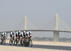 February 24, 2019 - Abu Dhabi, United Arab Emirates - Members of Team Dimension Data in action, during the Team Time Trial, the opening ADNOC stage of the inaugural UAE Tour 2019..On Sunday, February 24, 2019, Abu Dhabi, United Arab Emirates. (Credit Image: © Artur Widak/NurPhoto via ZUMA Press)