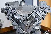 Mercedes-AMG engine production factory in Affalterbach in Germany - display of M156 E63 V8 engine with cutaways to show detail