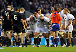 The England front row pack down for a scrum - Photo mandatory by-line: Patrick Khachfe/JMP - Tel: Mobile: 07966 386802 16/11/2013 - SPORT - RUGBY UNION -  Twickenham Stadium, London - England v New Zealand - QBE Autumn Internationals.