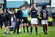 Dundee manager Neil McCann issues instructions to Dundee defender Mark O'Hara (#14) and Dundee forward Roarie Deacon (#21) during the Betfred Scottish Cup group stage match between Dundee and Dundee United at Dens Park, Dundee, Scotland on 29 July 2017. Photo by Craig Doyle.