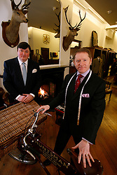 UK ENGLAND LONDON 15JAN09 - General Manager Peter Smith (L) and Head Tailor Patrick Murphy of The Huntsman tailors in Saville Row, London pose for a photo at their shop in central London...jre/Photo by Jiri Rezac