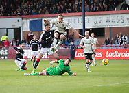 Dundee&rsquo;s Marcus Haber beats Inverness&rsquo; Ryan Esson only for Brad McKay to clear the effort - Dundee v Inverness Caledonian Thistle in the Ladbrokes Scottish Premiership at Dens Park, Dundee, Photo: David Young<br /> <br />  - &copy; David Young - www.davidyoungphoto.co.uk - email: davidyoungphoto@gmail.com