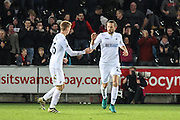 Gylfi Sigurdsson of Swansea City celebrates his teams fourth goal, 4-4, during the Premier League match between Swansea City and Crystal Palace at the Liberty Stadium, Swansea, Wales on 26 November 2016. Photo by Andrew Lewis.