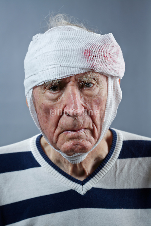 senior man with head wound
