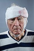senior man with head wound