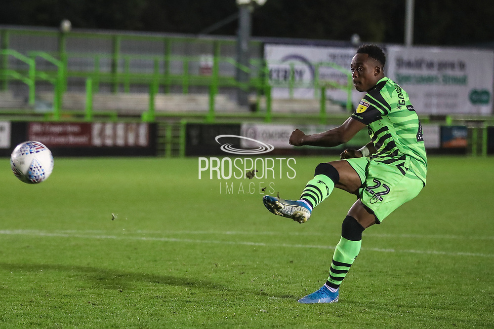 Forest Green Rovers Udoka Godwin-Malife(22) takes a penalty and and scores during the Leasing.com EFL Trophy match between Forest Green Rovers and Coventry City at the New Lawn, Forest Green, United Kingdom on 8 October 2019.
