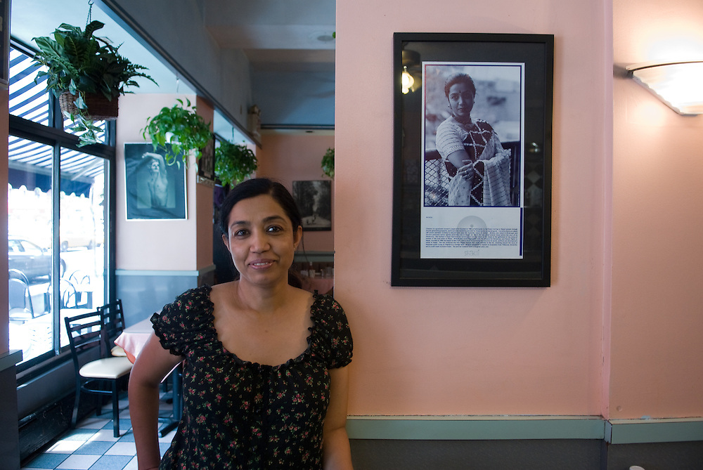 """New York, New York: Upper West Side, Manhattan, is being overtaken by chain buisnesses and local """"mom and pop"""" buisnesses are taking a hit. Mridula Koirala, 46, owner of Shining Star Restaurant on Amsterdam and 78th street, relys greatly on her regular customers and has notice a change in the neighborhood. Photos by Tiffany L. Clark"""