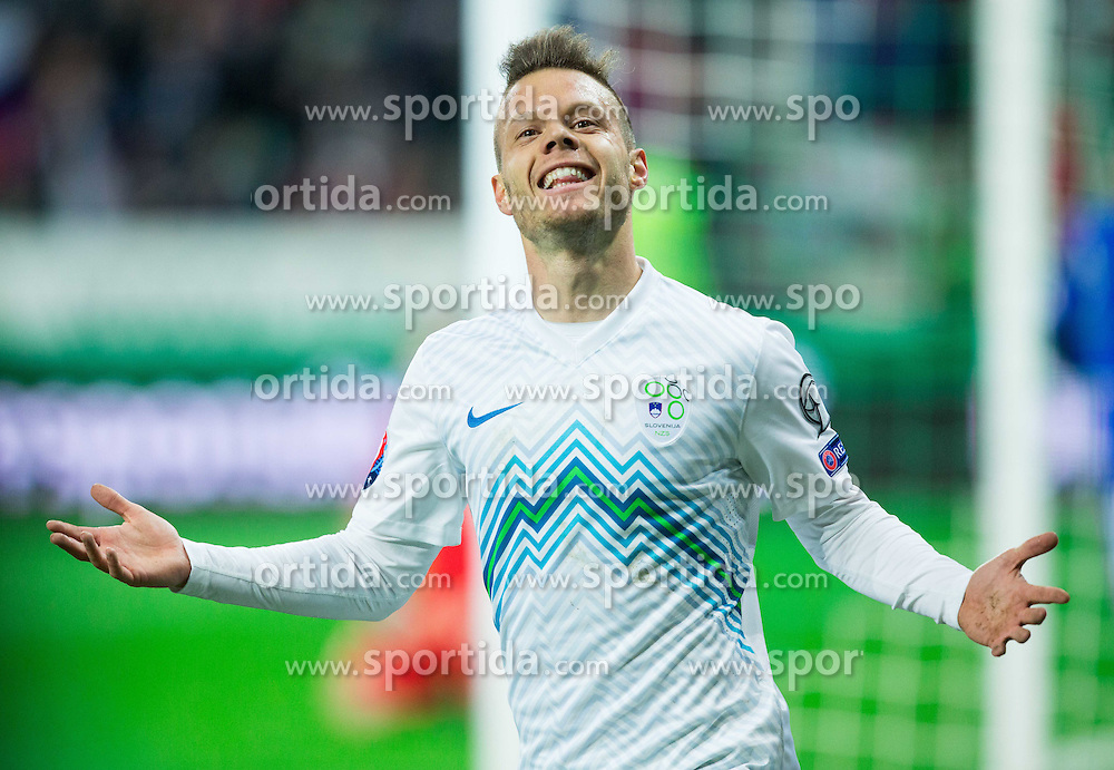 Dejan Lazarevic of Slovenia celebrates fifth goal of Slovenia during football match between NationalTeams of Slovenia and San Marino in Round 5 of EURO 2016 Qualifications, on March 27, 2015 in SRC Stozice, Ljubljana, Slovenia. Photo by Vid Ponikvar / Sportida